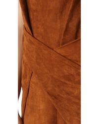 Alexander Wang - Brown Suede Twisted Crew Neck Dress - Lyst