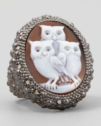 Amedeo | White Diamond-trim Hand-carved Owl Cameo Ring | Lyst