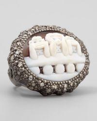 Amedeo - Gray Three Wise Monkeys See No Evil Diamond-trim Cameo Ring - Lyst