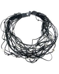 Black.co.uk | Black Indus Leather and Bead Tangle Necklace | Lyst