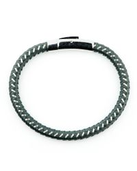 Black.co.uk - Gray Grey Cord And Stainless Steel Bracelet for Men - Lyst