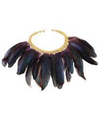 Black.co.uk - Metallic Peacock Feather Bib Necklace - Lyst