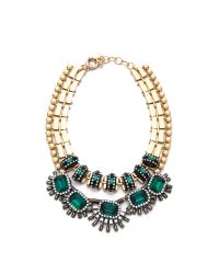 Elizabeth Cole - Blue Collar Gold-plated Swarovski Crystal And Cabachon Necklace - Lyst