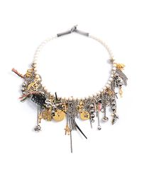 Saint Laurent - White Charm and Pearl Necklace - Lyst