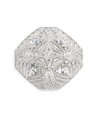 Adriana Orsini - Metallic Pave Shield Pin - Lyst