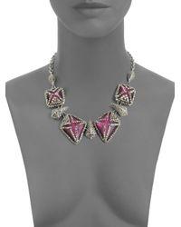 Alexis Bittar - Purple Marcasite Caged Lucite Bib Necklace - Lyst