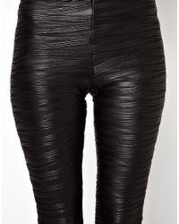 ASOS - Black Leggings In Pleat Effect - Lyst
