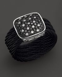 Charriol | Celtic Noir 18k White Gold Stainless Steel and Black Stainless Steel Nautical Cable Diamond Ring | Lyst