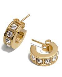 COACH | Metallic Beveled Pave Huggie Earrings | Lyst