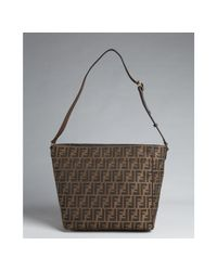 Fendi | Tobacco and Brown Zucca Canvas Shoulder Tote | Lyst