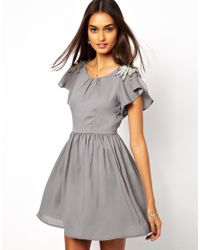 Jarlo - Gray Vintage Style Dress with Beading - Lyst