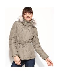 Kenneth Cole Reaction   Natural Hooded Faux-fur-trim Quilted Parka   Lyst