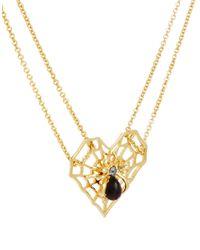 ASOS - Metallic Spider Web Pendant Necklace - Lyst