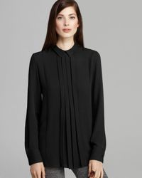 Theory | Black Blouse Forta Double Georgette | Lyst