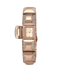Vince Camuto - Pink Mini Rose Gold Tone Glitz Pyramid Cover Bracelet Watch 17mm - Lyst