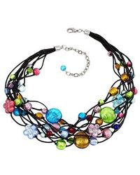 Antica Murrina - Blue Cancun Murano Glass Beads Flowers Multistrand Necklace - Lyst