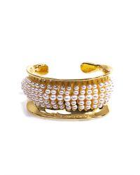 Aurelie Bidermann | White Cheyne Pearl Gold Plated Cuff | Lyst