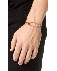 Giles & Brother - Yellow Safety Pin Id Cuff for Men - Lyst