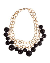 Kenneth Jay Lane - Metallic Double Row Chain Link Necklace with Bead Detail - Lyst