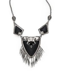 Alexis Bittar | Metallic Black Onyx Marcasite and Lucite Fringe Necklace | Lyst
