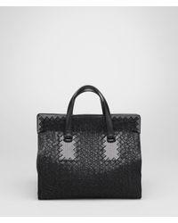 Bottega Veneta - Black Nero Intreccio Tricot Raffia Bag - Lyst