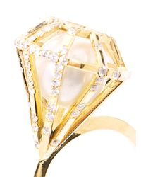 Melanie Georgacopoulos - Metallic Diamond Gold Pearl Ring - Lyst