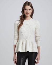 Torn By Ronny Kobo - Natural Layla Mixedknit Peplum Sweater - Lyst