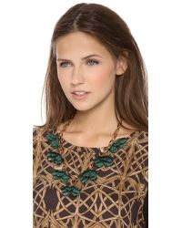 Tory Burch | Green Pentier Multi Flower Necklace | Lyst