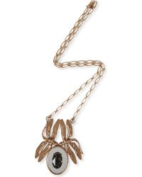 Tory Burch - Metallic Mirrored Dragonfly Pendant Necklace - Lyst