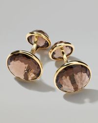 Ippolita - Yellow 18k Gold Lollipop 2stone Cuff Links in Smoky Quartz - Lyst