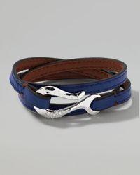 Ippolita - Mens Pelle Sterlinghook Leather 3wrap Bracelet in Blue for Men - Lyst