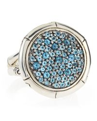 John Hardy - Bamboo Silver Lava Swiss Blue Topaz Ring Size 6 - Lyst