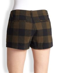 Rag & Bone - Brown Portobello Plaid Cotton Shorts - Lyst