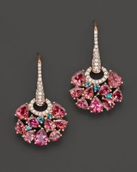 Roberto Coin | 18k Rose Gold Fantasia London Blue Topaz And Pink Tourmaline Earrings | Lyst