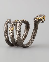 Alexis Bittar - Brown Pave Crystal Coiled Snake Ring - Lyst