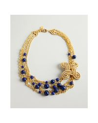 Ben-Amun | Metallic Gold and Cobalt Bead Chain Strand Necklace | Lyst