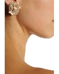 Bijoux Heart - Metallic Goldplated Swarovski Crystal and Pearl Clip Earrings - Lyst