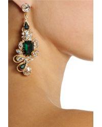 Bijoux Heart - Green Empire Goldplated Swarovski Crystal Earrings - Lyst