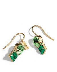 COACH - Green Double Drop Stone Earrings - Lyst