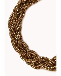 Forever 21 - Metallic Braided Popcorn Chain Necklace - Lyst