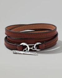 Ippolita | Pelle Sterlingtoggle Leather 4wrap Bracelet in Brown Size 2 for Men | Lyst