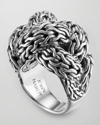John Hardy - Metallic Classic Chain Silver Braided Ring for Men - Lyst
