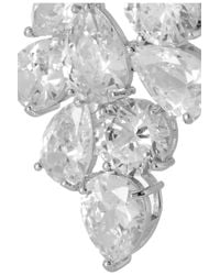 Kenneth Jay Lane - Metallic Rhodium Plated Cubic Zirconia Clip Earrings - Lyst