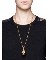 Alexander McQueen - Metallic Pearl Punk Skull Necklace - Lyst