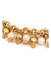 Alexander McQueen - Metallic Faux Pearl Skull Bracelet - Lyst