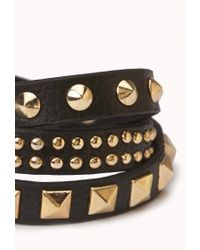 Forever 21 - Black Studded Wrap-around Bracelet - Lyst