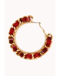 Forever 21 - Red Tartan Plaid Woven Hoops - Lyst