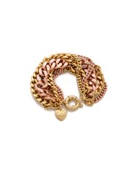 Giles & Brother - Pink Multi Chain Bracelet - Lyst