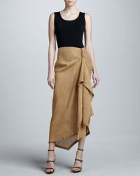 Michael Kors - Brown Draped Linen Skirt - Lyst