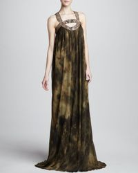 Michael Kors - Green Printed Jersey Halter Gown - Lyst